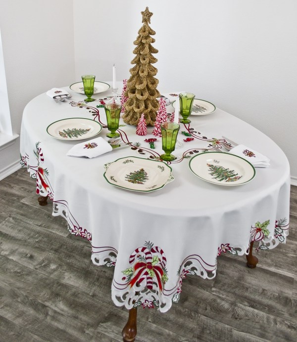christmas candy cane tablecloth doily