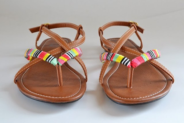 b7219c451 Add neon gems to plain white sandals via I SPY DIY.