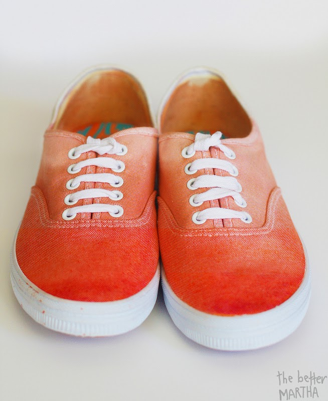 b7b683cce Turn plain white canvas shoes into gorgeous ombre sneakers via The Better  Martha.