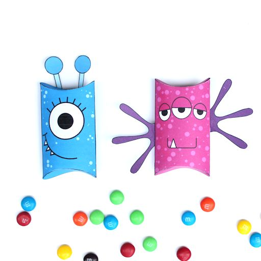 Printable Monster Pillow Boxes