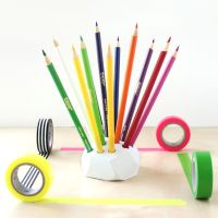 Geometric Colored Pencil Holder - Lines Across