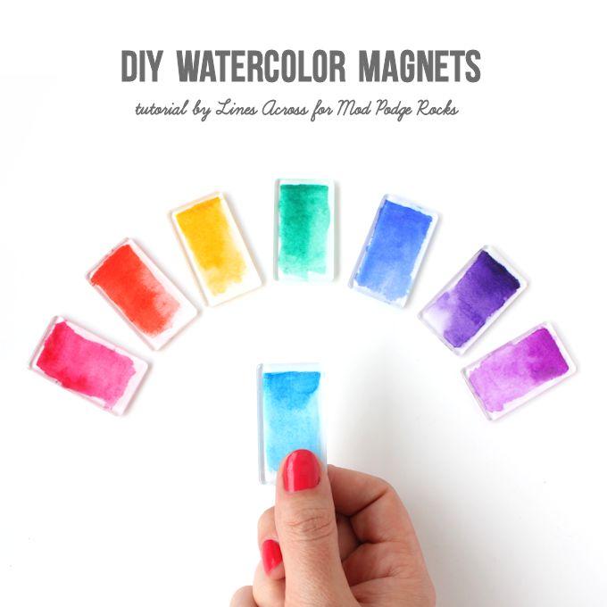 DIY Watercolor Magnets @linesacross