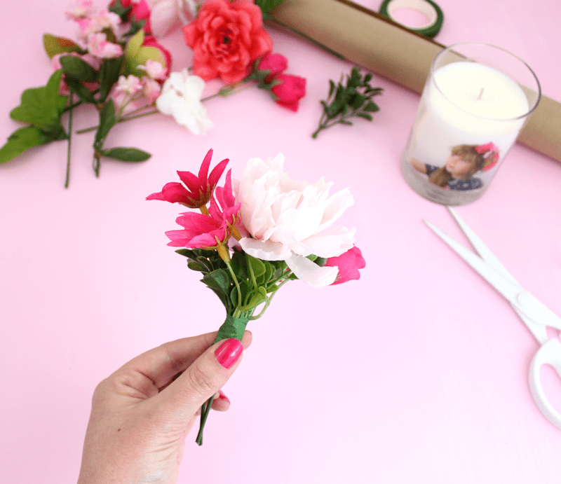 Faux Flowers DIY Gift Toppers - Mother's Day gift wrap idea 2