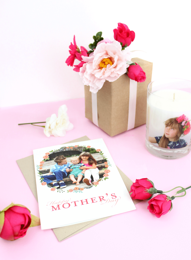 Personalized candles -Shutterfly - Mother's Day Gift Wrap - Faux Flowers