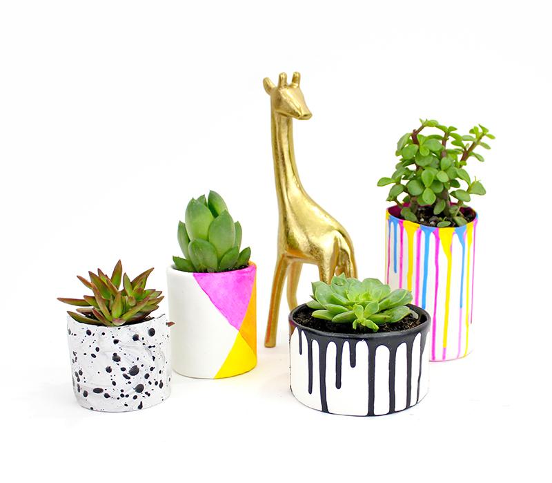 Colorful DIY planters