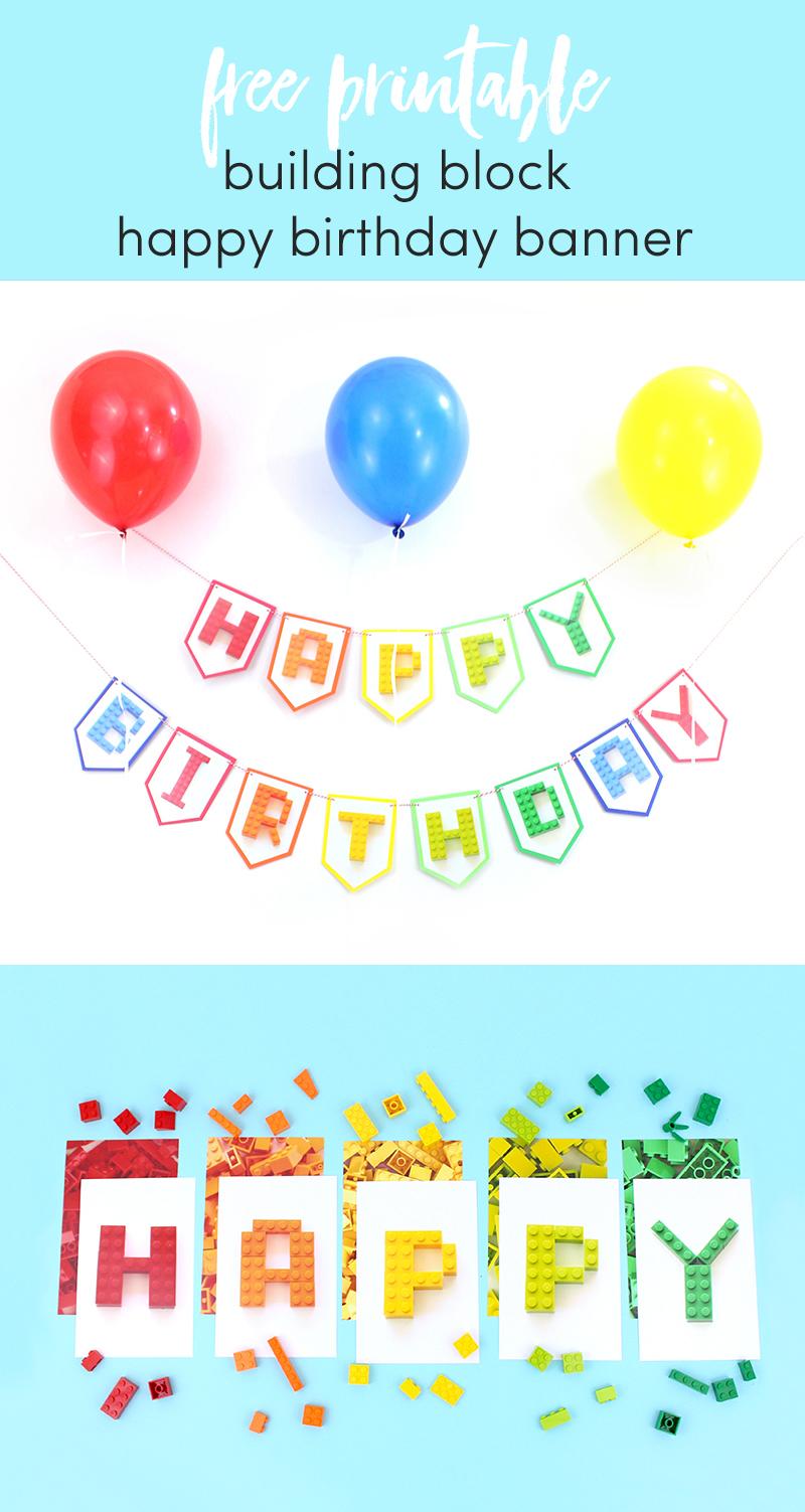Free Printable Building Block happy Birthday Banner