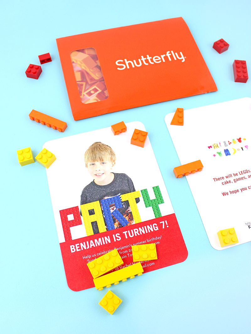 Lego birthday party invitations from Shutterfly @linesacross