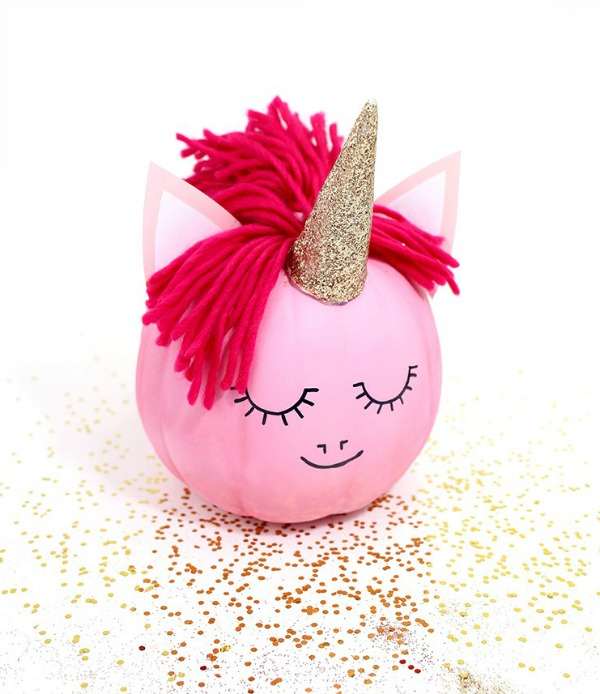 how-to-make-a-unicorn-pumpkin-no-carve-pumpkin-ideas