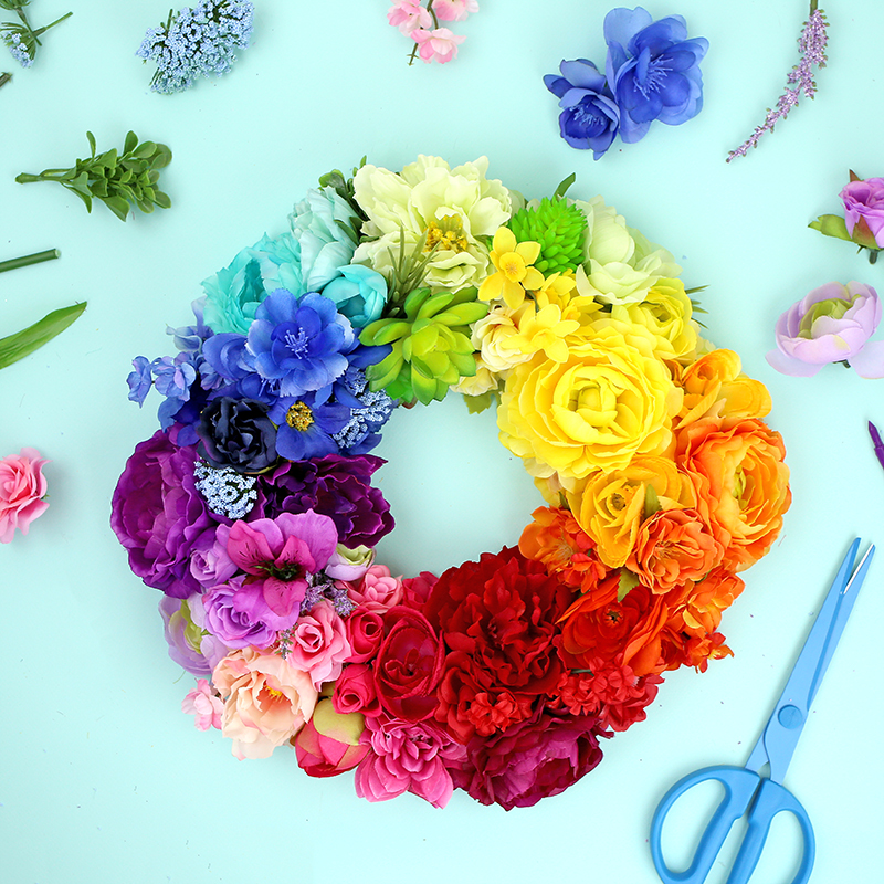 Floral Rainbow Wreath