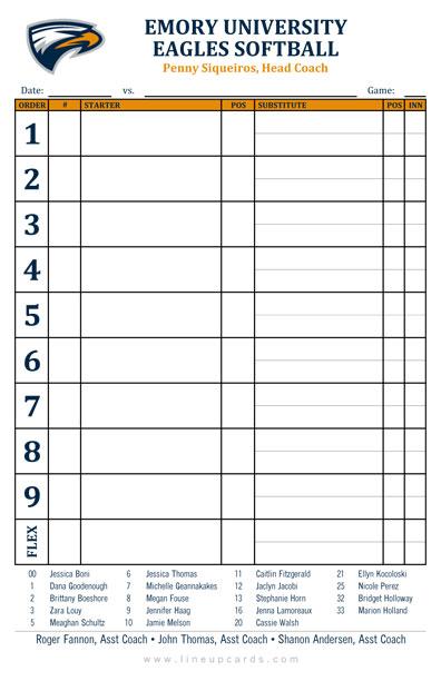 softball line up sheets