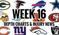 NFL Week 16 Depth Chart & Injury News - Lineups Articles