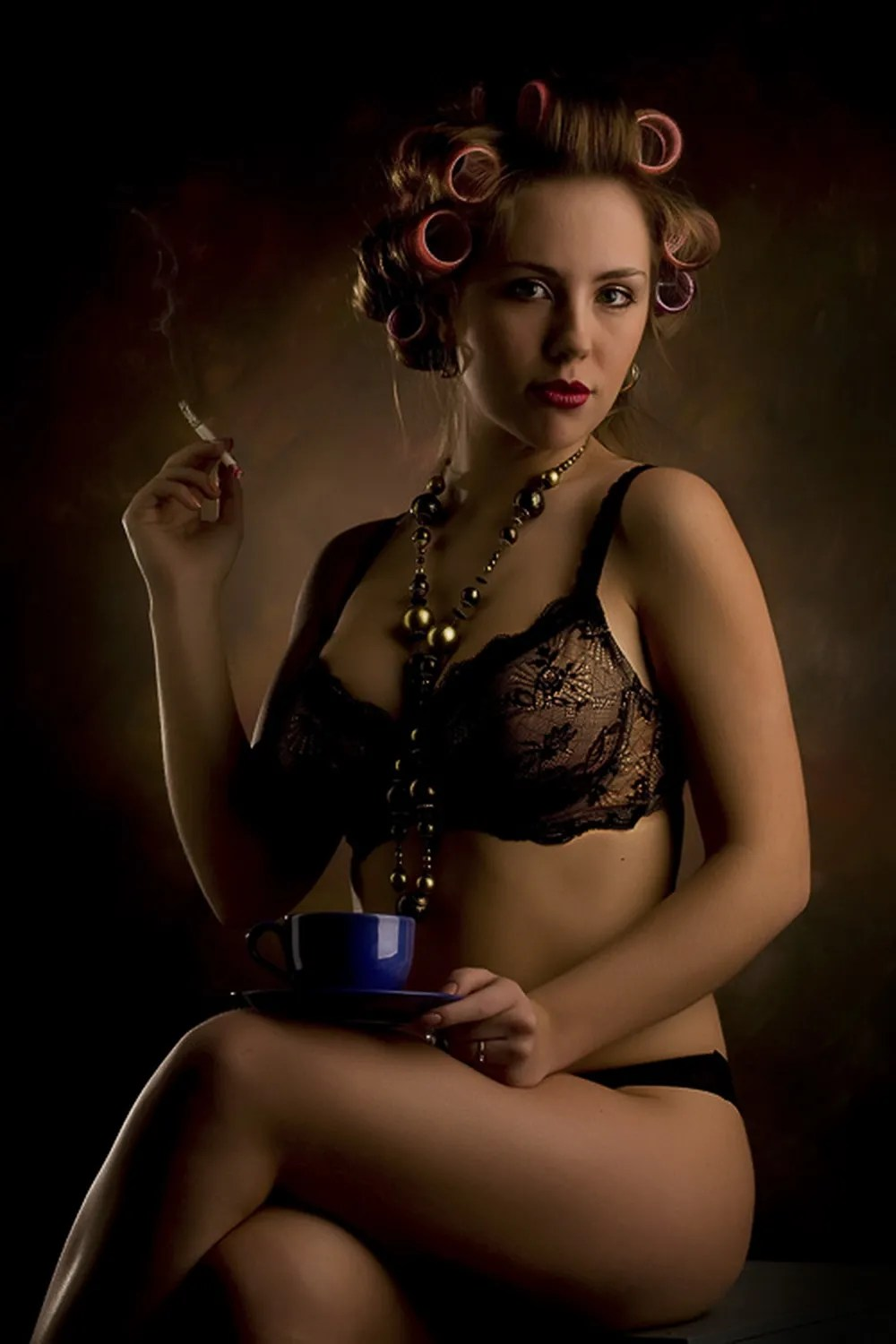 Smoko Time In Black Bra And Knickers