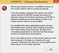 Not enough physical memory is available to power on this virtual machine