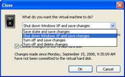 Closing options with Undo Disks Enabled