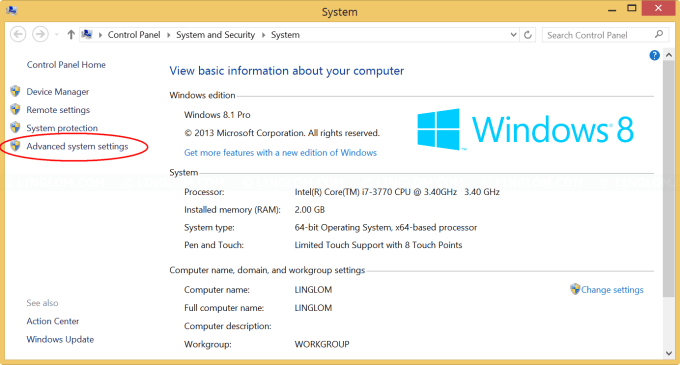 Open Advanced System Settings on Windows 8.1