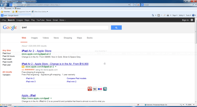 RocketTab on Google Result Page