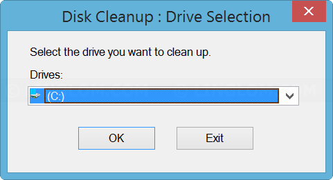 Select drive on Disk Cleanup