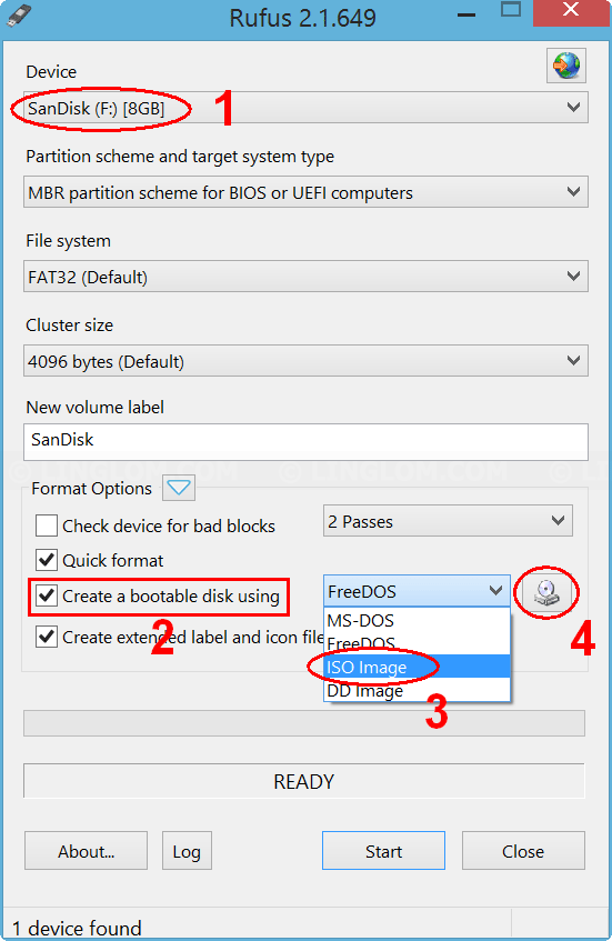Create bootable USB from ISO image with Rufus