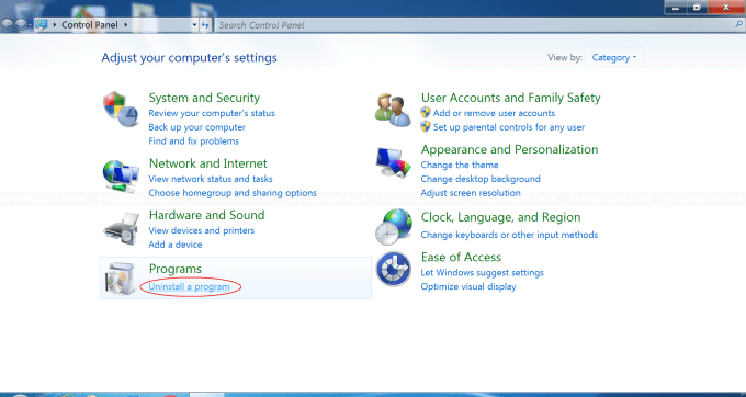 Select 'Uninstall a Program' in Control Panel