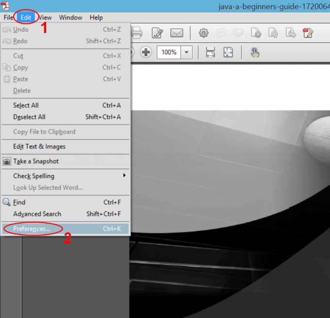 Open Preferences on Adobe Acrobat