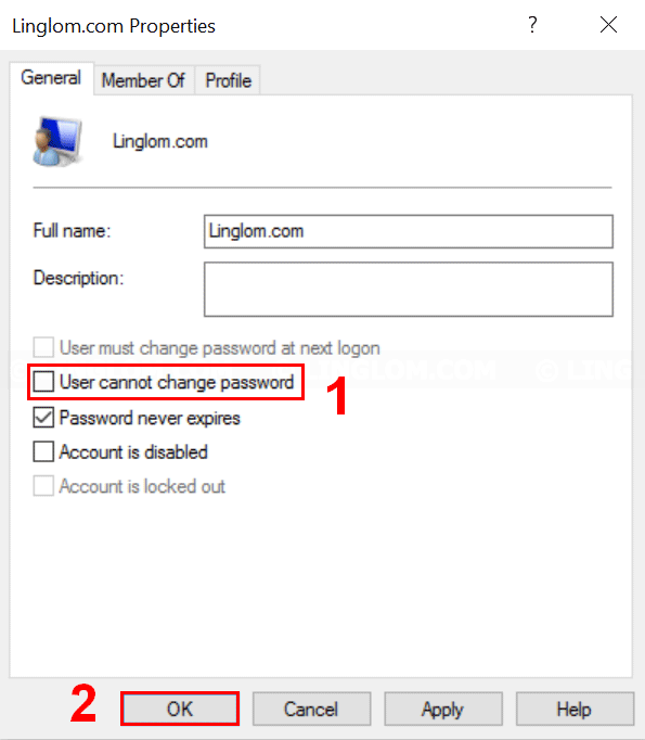Uncheck 'User cannot change password' option