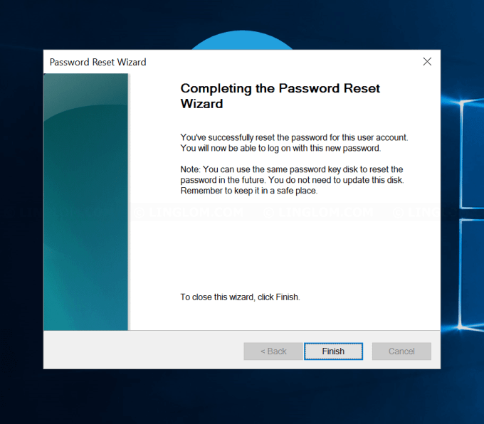Completing the Password Reset Wizard