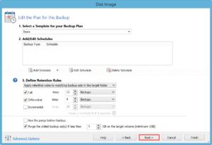 Configure backup schedule