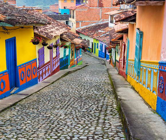 Colonial street in Colombia