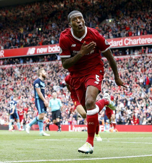Wijnaldum comemora o gol que abriu o placar sobre o Middlesbrough. Horas  depois 3924de598ccb6