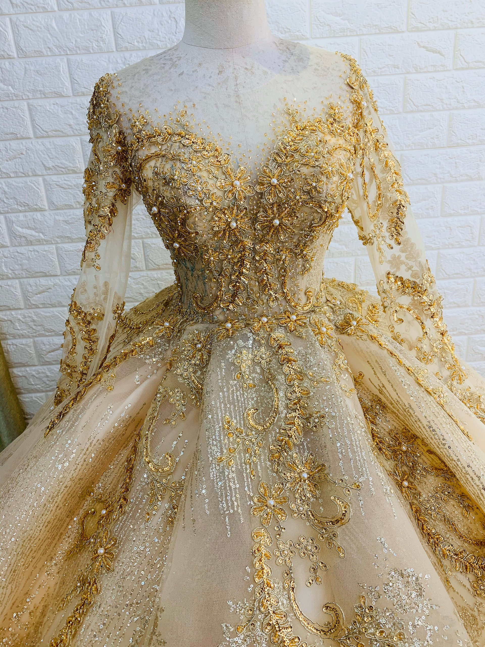 Long sleeves gold beaded sparkle ball gown wedding dress with glitter tulle - various styles