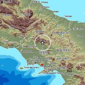 Epicentro del terremoto in Campania