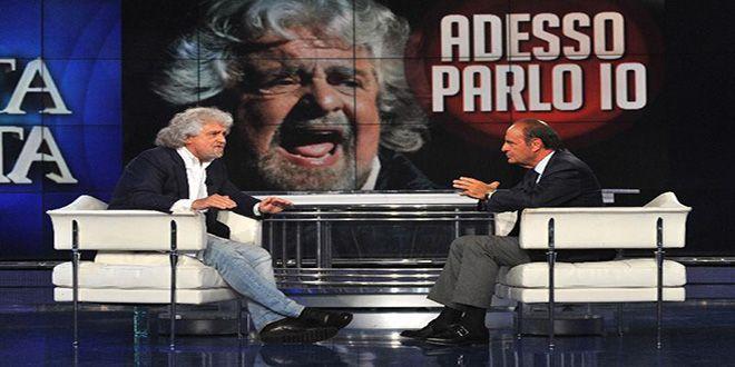 Grillo-show su Rai 1 a Porta a Porta