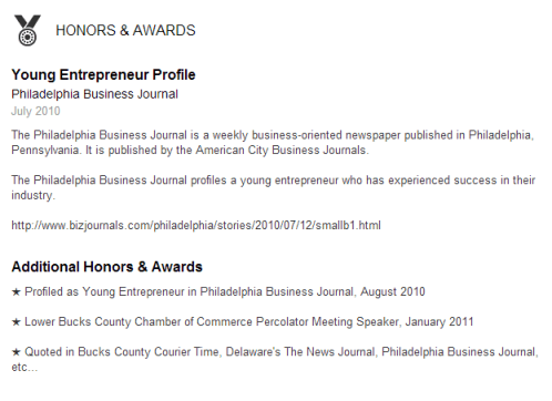 New LinkedIn Profile Honors and Awards Section