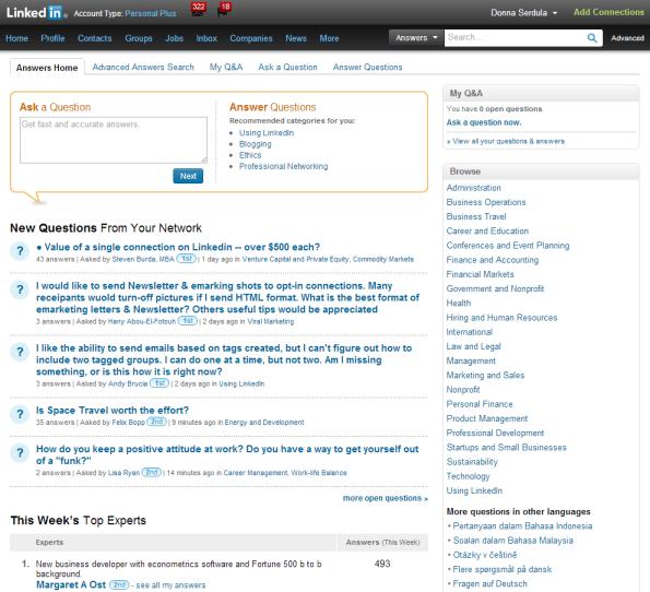 LinkedIn Answers Page