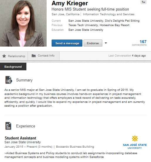 Amy Krieger Image And Summary LinkedIn Mentoring