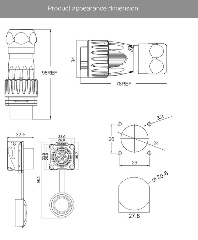 500V 25A Cnlinko M24 4 Pin Waterproof Circular Connectors