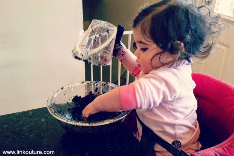 "How a toddler does indoor ""gardening"""