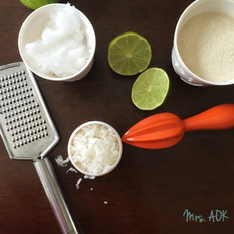 Put the lime in the coconut sugar scrub ingredients