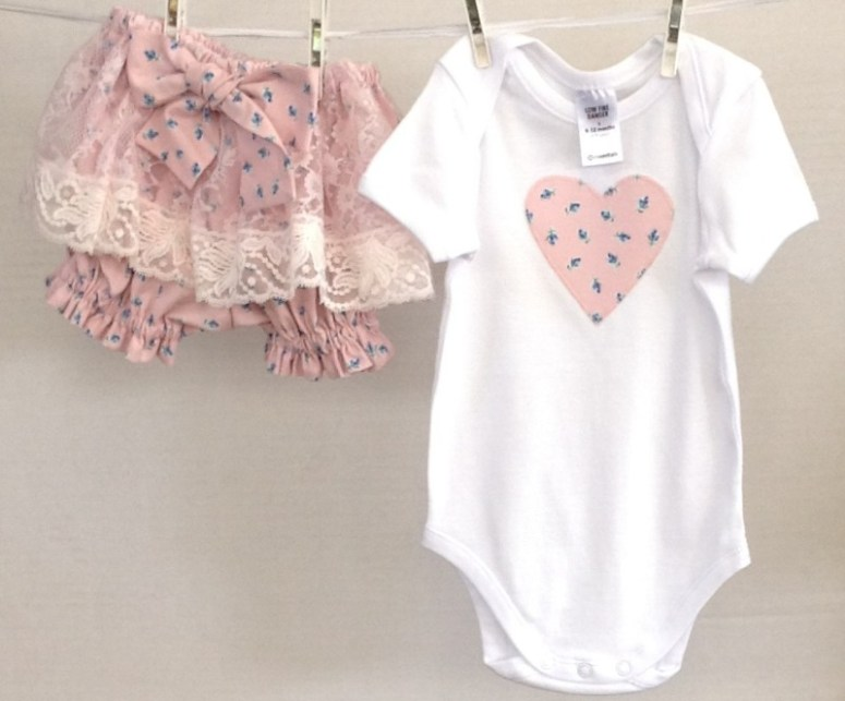 Pink rosebud onesie and matching bloomers by Two Black Rabbits
