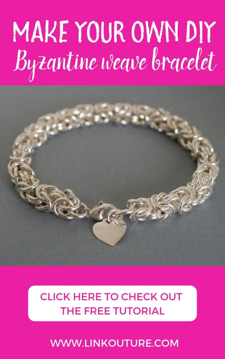 Make your own beautiful DIY heart charm bracelet using the Byzantine weave. This step-by-step jewelry making tutorial will show you how to make this gorgeous bracelet. Make one for yourself or save the tutorial for a really stunning handmade gift idea! #linkouture #DIY #jewelrymaking