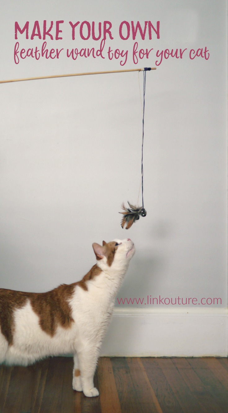 """Make your favorite feline friend a special DIY feather wand cat toy, and help them to stay healthy and active with Rachael Ray™ @NutrishForPets cat food line. It's dedicated to """"Real Recipes. Real Ingredients. Real Good,"""" #ad #NutrishCatCrafts"""