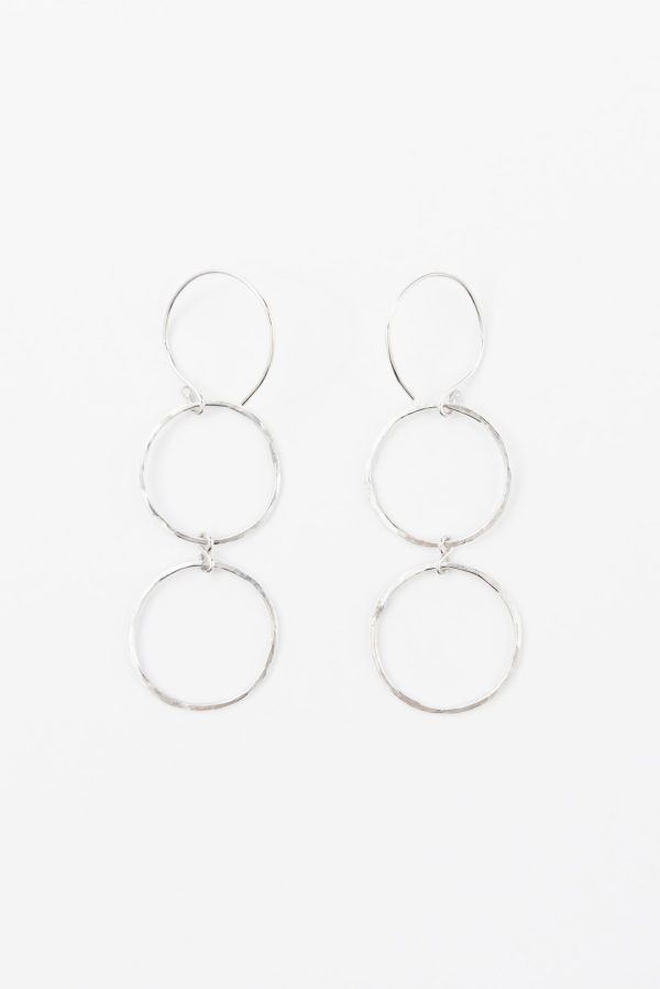 Double hanging hammered hoop earrings