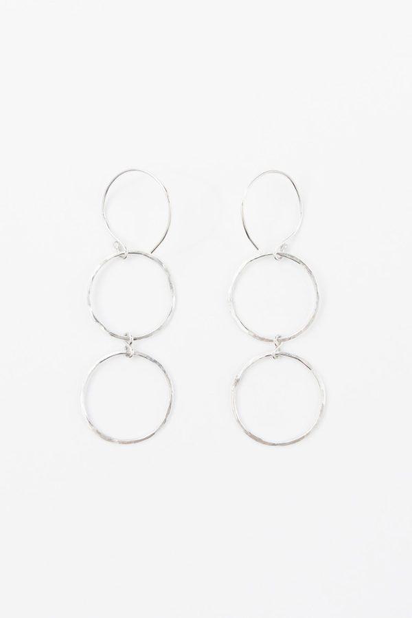 Double hanging hammered hoop earrings