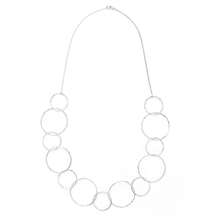 LONG ELEGANT HAMMERED STERLING SILVER NECKLACE