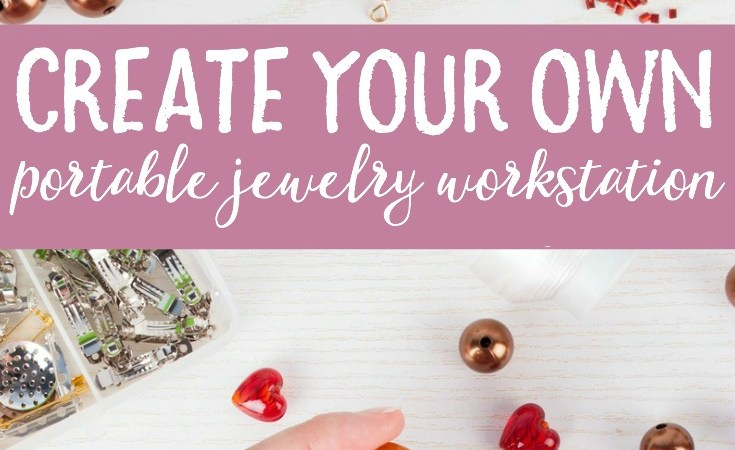 Love making jewelry but short on space? See how easily (and cheaply!) you can create your own portable DIY jewelry workstation.