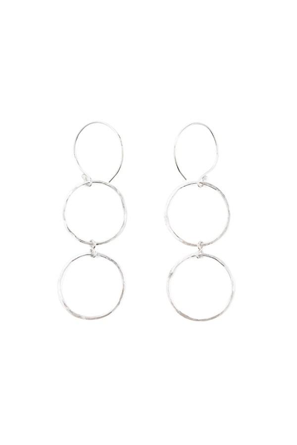 sterling silver double hoop dangle earrings