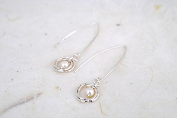 DIY drop pearl earrings with custom-length ear wires