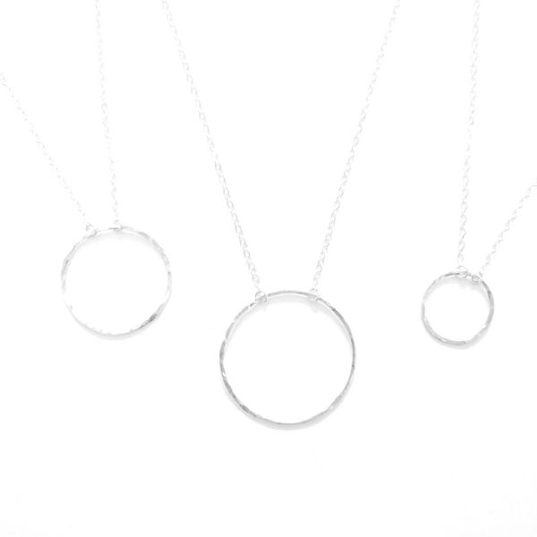 sterling silver hammered pendant necklace