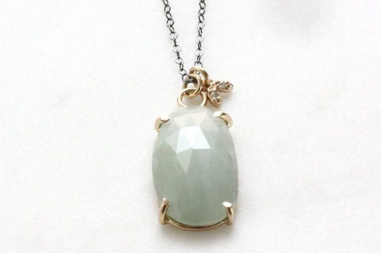 14k moss aquamarine & moissanite eco-friendly leaf necklace