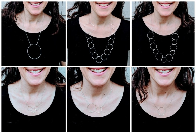 Six minimalist necklace options for a scoop neck shirt.